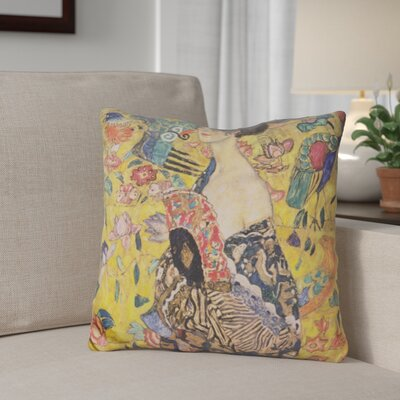 Gioia Lady with Fan Throw Pillow