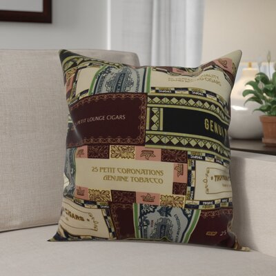 Warriner Cigar Box Collage Geometric Print Indoor/Outdoor Throw Pillow Color: Green, Size: 20 x 20