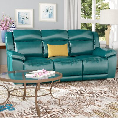 Evansburg Leather Reclining Sofa Upholstery: Dark Turquoise
