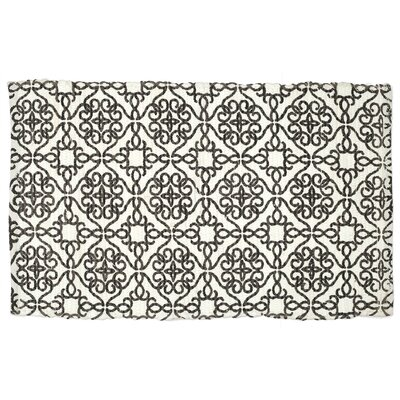 Mullaney Hand-Woven Black/Ivory Area Rug