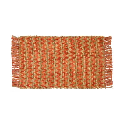 Hammons Chevron Hand-Woven Coral/Brown Area Rug