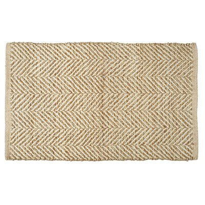 Hammons Chevron Hand-Woven Beige Area Rug Rug Size: Rectangle 18 x 28