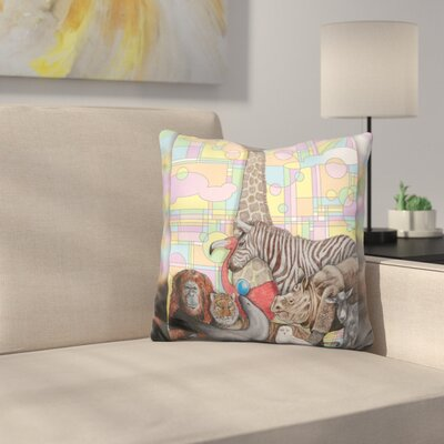 Art Deco Zoo Throw Pillow
