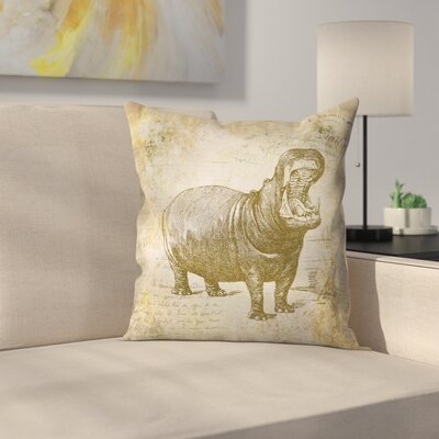 Hippo Vintage Throw Pillow Size: 16 x 16