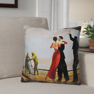 Berrian Dancing Butler on Toxic Beach Crude Oil Throw Pillow