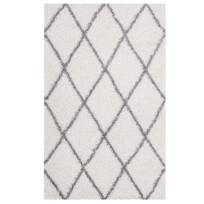 Perrodin Diamond Lattice Gray/Ivory Area Rug Rug Size: Rectangle 8 x 10