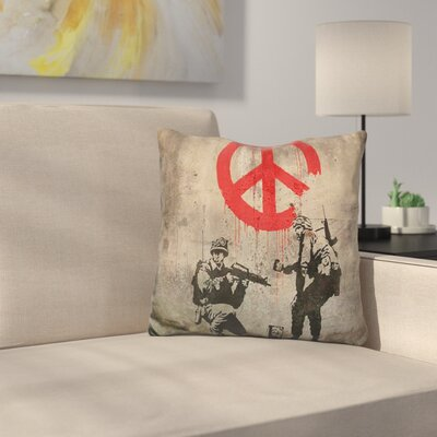 Soldiers Painting Peace Throw Pillow Color: Black/Red