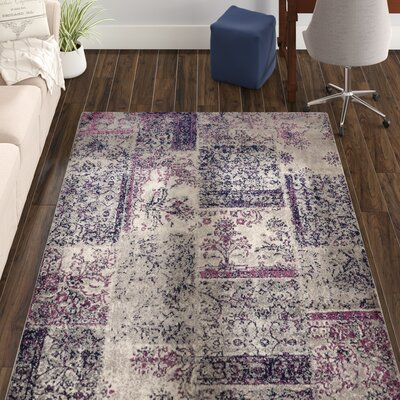 Travis Floral Patchwork Gray/Purple Area Rug Rug Size: 53 x 73