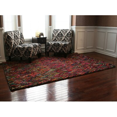 Doster Chevron Hand-Knotted Pink/Red Area Rug