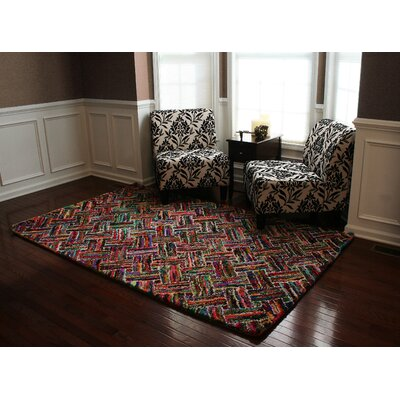 Doster Basket Weave Hand-Knotted Pink/Red Area Rug