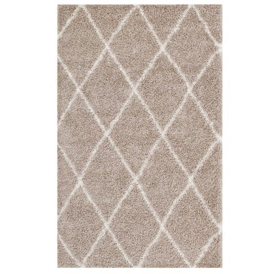 Perrodin Diamond Lattice Beige/Ivory Area Rug Rug Size: Rectangle 8 x 10