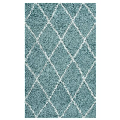 Perrodin Diamond Lattice Aqua Blue/Ivory Area Rug Rug Size: Rectangle 5 x 8