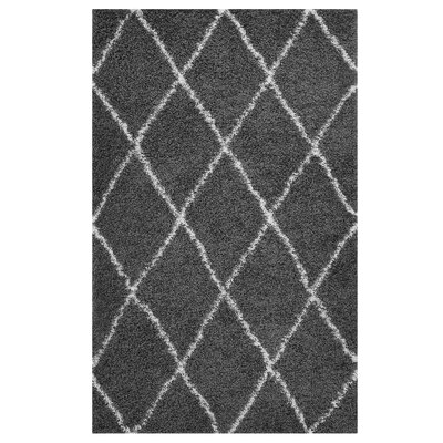 Perrodin Diamond Lattice Dark Gray/Ivory Area Rug Rug Size: Rectangle 5 x 8