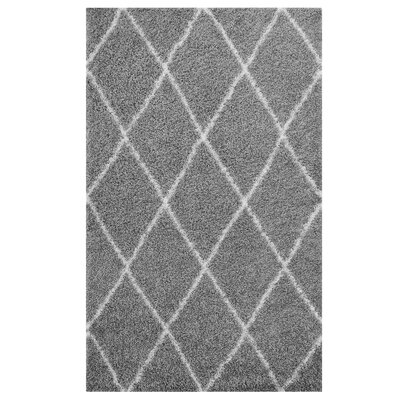 Perrodin Diamond Lattice Gray/Ivory Area Rug Rug Size: Rectangle 5 x 8