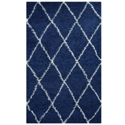 Perrodin Diamond Lattice Navy Blue/Ivory Area Rug Rug Size: Rectangle 5 x 8