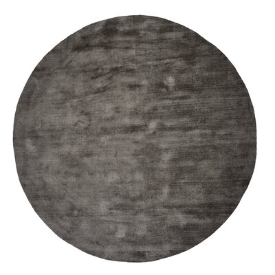 Pressley Hand-Woven Wool Gray Area Rug Rug Size: Round 5