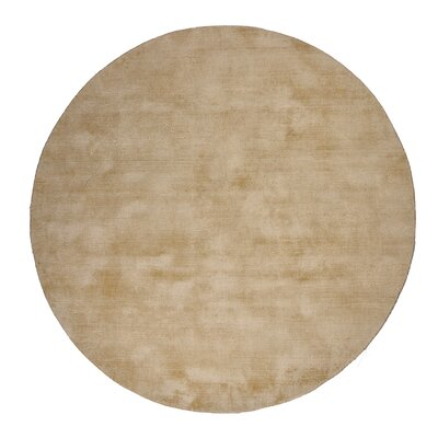 Pressley Hand-Woven Wool Beige Area Rug Rug Size: Round 5