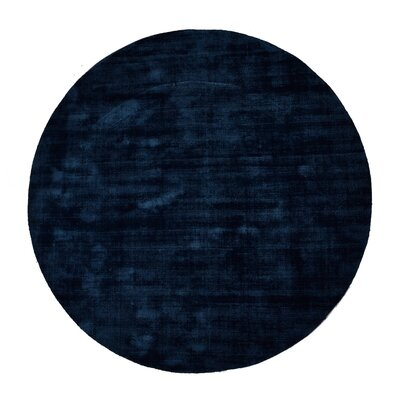 Pressley Hand-Woven Wool Teal Area Rug Rug Size: Round 5