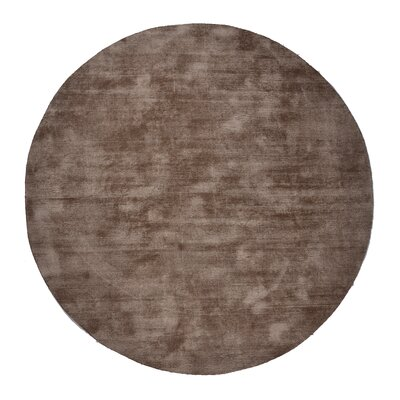 Pressley Hand-Woven Wool Taupe Area Rug Rug Size: Round 5