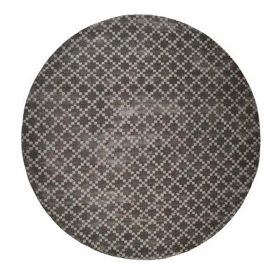 Teressa Diamond Hand-Woven Wool Gray Area Rug Rug Size: Round 5