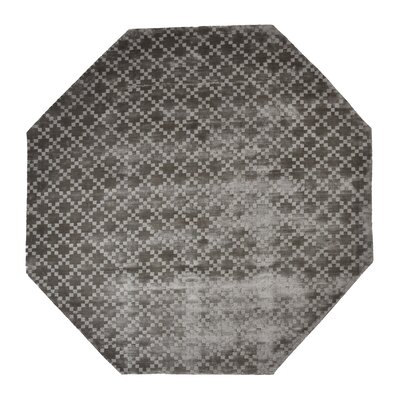 Teressa Diamond Hand-Woven Wool Gray Area Rug Rug Size: Octagon 5 x 5
