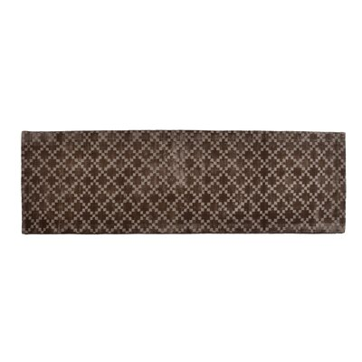 Teressa Diamond Hand-Woven Wool Taupe Area Rug Rug Size: Runner 2x 6