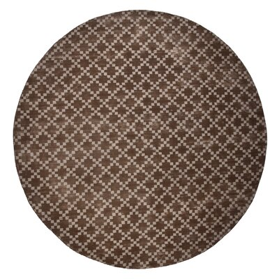 Teressa Diamond Hand-Woven Wool Taupe Area Rug Rug Size: Round 5