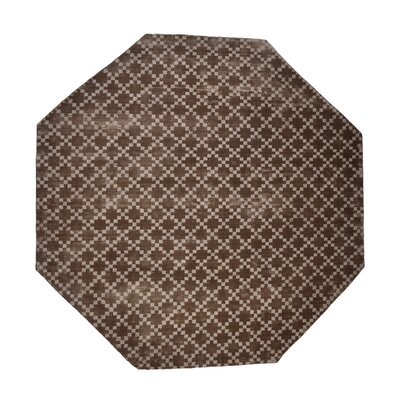 Teressa Diamond Hand-Woven Wool Taupe Area Rug Rug Size: Octagon 5 x 5