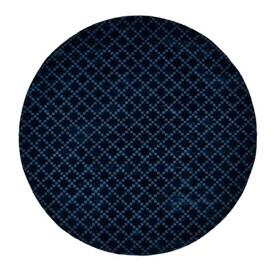 Teressa Diamond Hand-Woven Wool Teal Area Rug Rug Size: Round 5