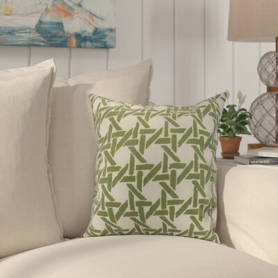 Cawley Rattan Geometric Print Indoor/Outdoor Throw Pillow Color: Green, Size: 18 x 18
