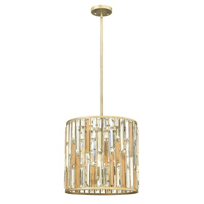 Gemma Stem Hung 3-Light Drum Pendant Finish: Silver