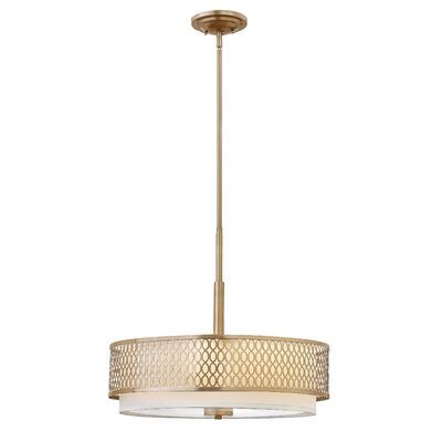 Jules 3-Light Drum Pendant Finish: Brushed Gold, Size: 18.5 H x 26 W x 26 D