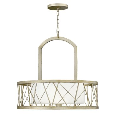 Nest Single Tier 3-Light Drum Pendant Finish: Silver Leaf