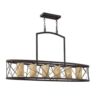 Nest Linear Downlight 6-Light Kitchen Island Pendant Finish: Oil Rubbed Bronze