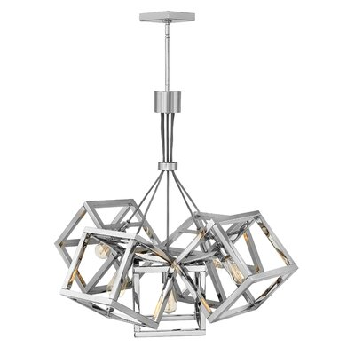 Ensemble Stem Hung Single Tier 5-Light Cluster Pendant Finish: Polished nickel