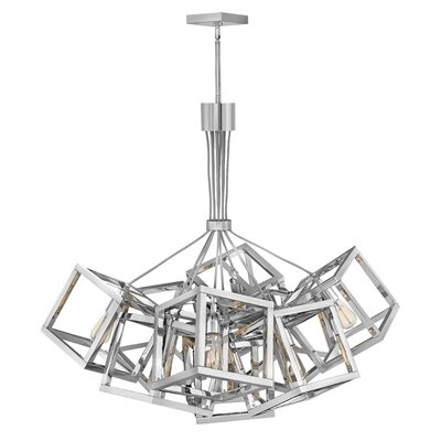 Ensemble Stem Hung Single Tier 9-Light Cluster Pendant Finish: Polished nickel, Size: 36.75 H x 30.75 W x 30.75 D