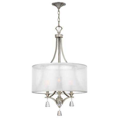 Mime Single Tier 3-Light Drum Pendant Finish: Brushed Nickel