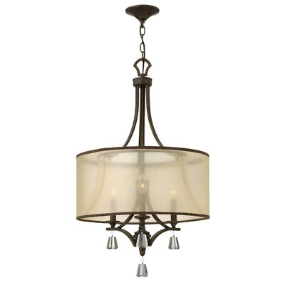 Mime Single Tier 3-Light Drum Pendant Finish: French Bronze