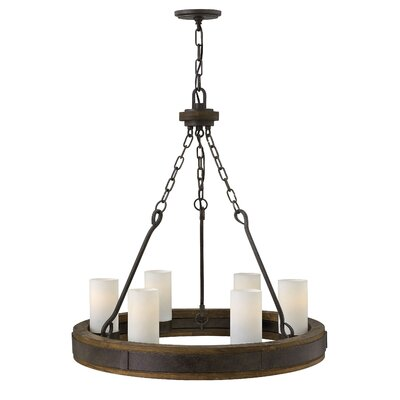 Cabot Single Tier 6-Light Candle-Style Chandelier Size: 29 H x 28 W x 28 D