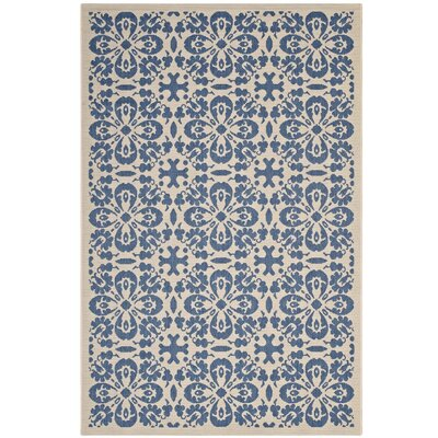 Herzberg Vintage Floral Blue/Beige Indoor/Outdoor Area Rug Rug Size: Rectangle 8 x 10