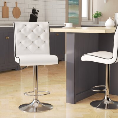 Elkton Adjustable Height Swivel Bar Stool Set Upholstery: White with Black Trims
