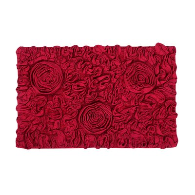 Bell Flower Bath Rug Size: 24 W x 40 L, Color: Red