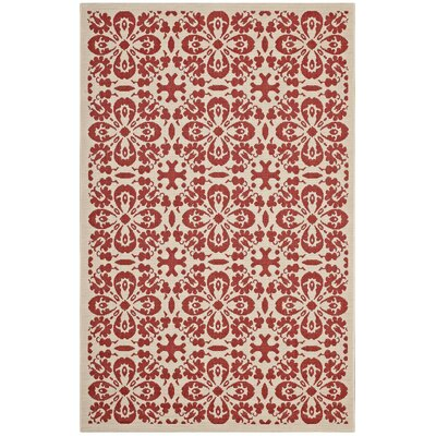 Herzberg Vintage Floral Red/Beige Indoor/Outdoor Area Rug Rug Size: Rectangle 8 x 10