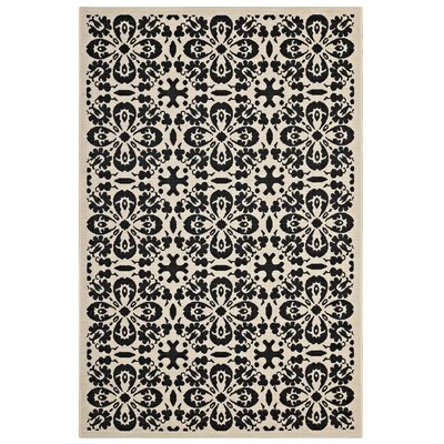 Herzberg Vintage Floral Black/Beige Indoor/Outdoor Area Rug Rug Size: Rectangle 5 x 8