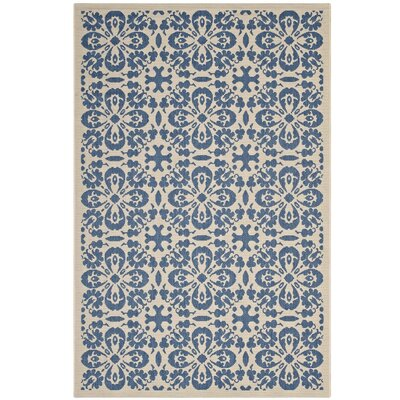 Herzberg Vintage Floral Blue/Beige Indoor/Outdoor Area Rug Rug Size: Rectangle 5 x 8