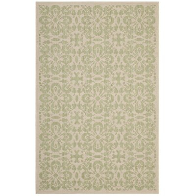 Herzberg Vintage Floral Trellis Beige Indoor/Outdoor Area Rug Rug Size: Rectangle 5 x 8