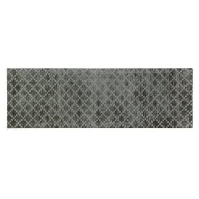 Teressa Diamond Hand-Woven Wool Mid Night Area Rug Rug Size: Runner 2x 6