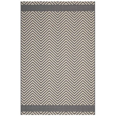 Electra Chevron Gray/Beige Indoor/Outdoor Area Rug Rug Size: Rectangle 8 x 10