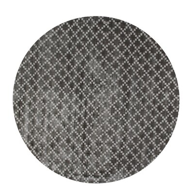 Teressa Diamond Hand-Woven Wool Mid Night Area Rug Rug Size: Round 5