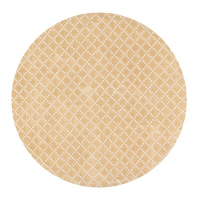 Teressa Diamond Hand-Woven Wool Beige Area Rug Rug Size: Round 5